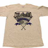 Vintage Colorado Rockies Shield Tshirt Sz XL