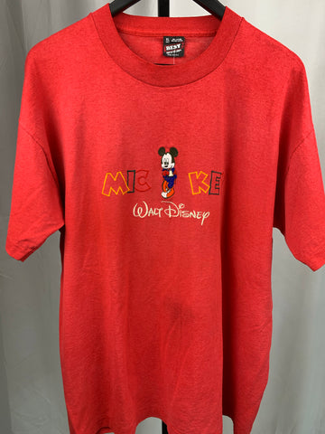 VTG Mickey Mouse Spellout Red Tee Sz L/XL