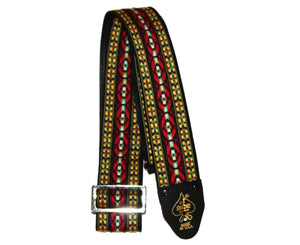 Ace Vintage Reissue Bohemian Red Guitar Strap by D'Andrea - Made in the USA - Megatone Music