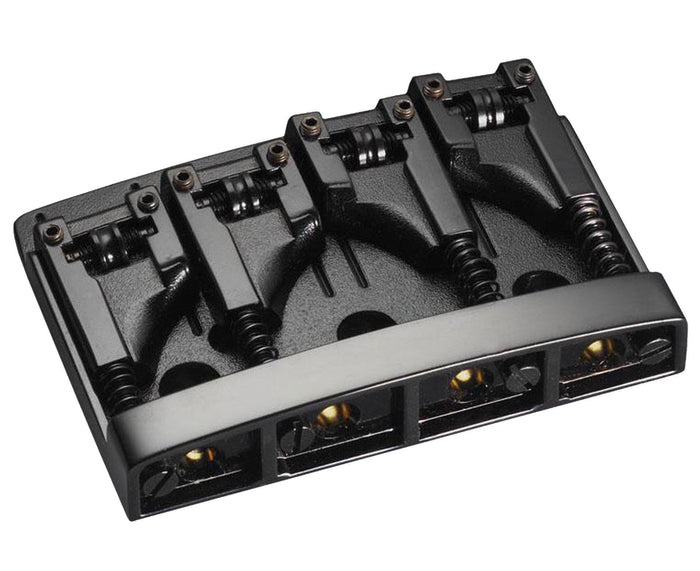 Schaller 4-string bass bridge, with roller saddles in Black