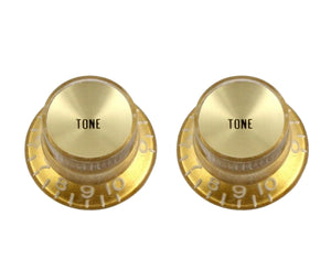 Allparts PK-0182 Gold Top Hat Set of 2 Reflector Tone Knobs - Megatone Music