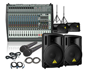 Behringer PMP6000 / B212XL Mains Monitors & Mics Package PA Bundle Behringer