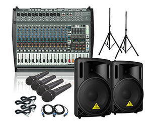 Behringer PMP6000 B215XL Powered Mixer Mains and Mics Package - Megatone Music