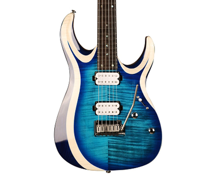 Cort X700 Duality, Flamed Maple on Swamp Ash Body, Light Blue Burst Electric Guitar