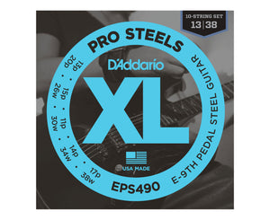 D'Addario EPS490 Round Wound E9 Tuning Pedal Steel Guitar Strings 13-38