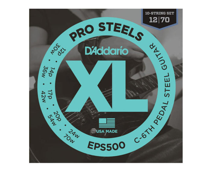 D'Addario EPS500 Round Wound C6 Tuning Pedal Steel Guitar Strings 12-70