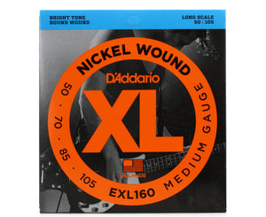D'Addario EXL160 Nickel Wound Bass Guitar Strings Medium 50-105 Long Scale