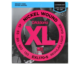 D'Addario EXL170-5 Nickel Wound 5-String Bass Guitar Strings Light 45-130 Long Scale