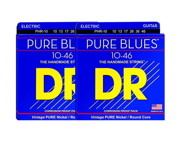 DR Strings Pure Blues PHR-10 Electric Guitar Strings 2-Pack