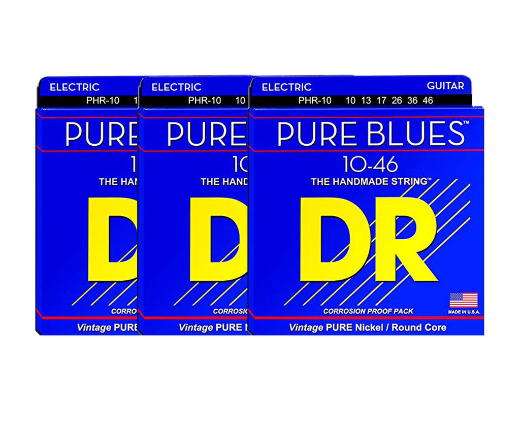 DR Strings Pure Blues PHR-10 Electric Guitar Strings 3-Pack - Megatone Music