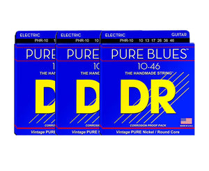 DR Strings Pure Blues PHR-10 Electric Guitar Strings 3-Pack Electric Guitar Strings DR Strings