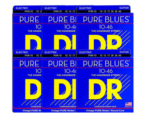 DR Strings Pure Blues PHR-10 Electric Guitar Strings 6-Pack Electric Guitar Strings DR Strings