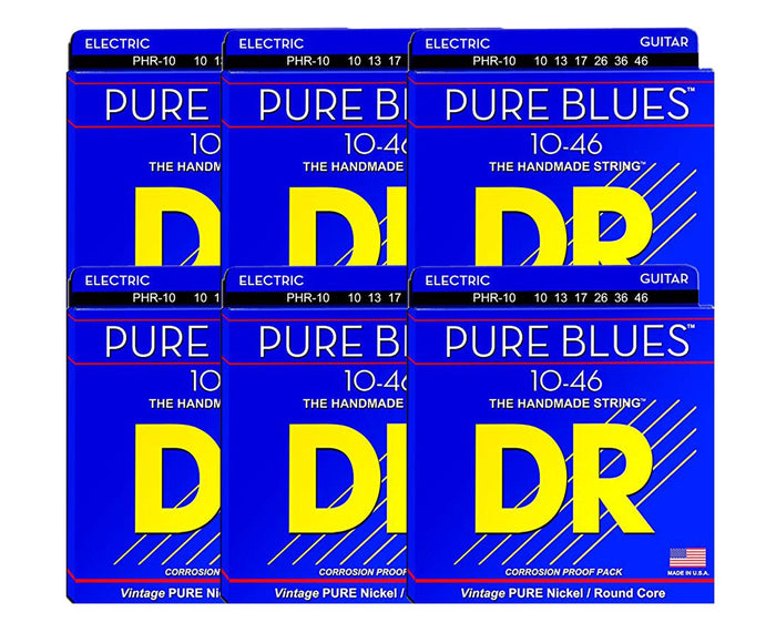 DR Strings Pure Blues PHR-10 Electric Guitar Strings 6-Pack