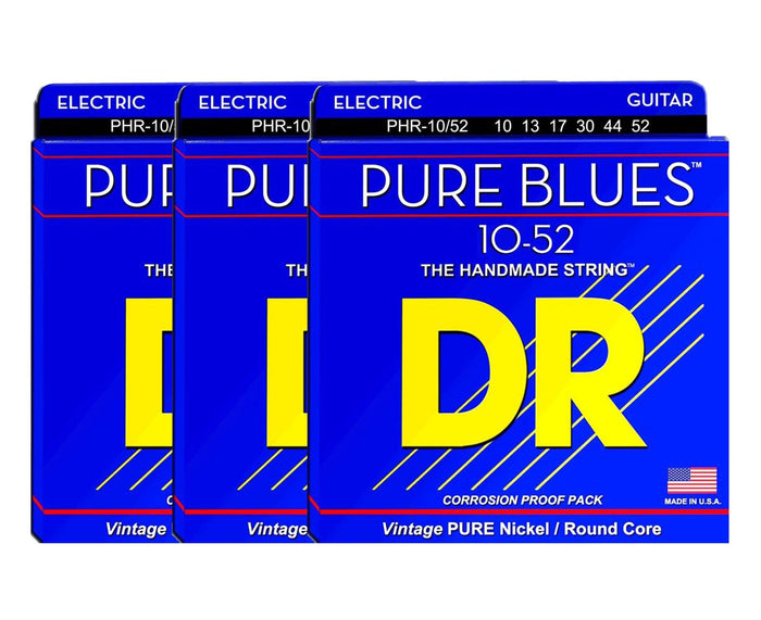 DR Strings Pure Blues PHR-10/52 Electric Guitar Strings 3-Pack