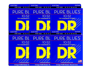 DR Strings Pure Blues PHR-10/52 Electric Guitar Strings 6-Pack Electric Guitar Strings DR Strings