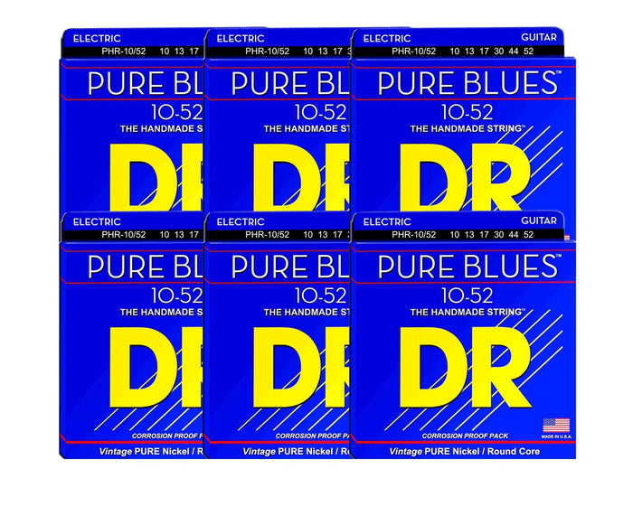 DR Strings Pure Blues PHR-10/52 Electric Guitar Strings 6-Pack