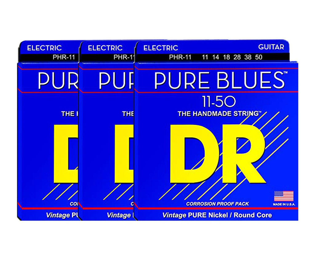 DR Strings Pure Blues PHR-11 Electric Guitar Strings 3-Pack - Megatone Music