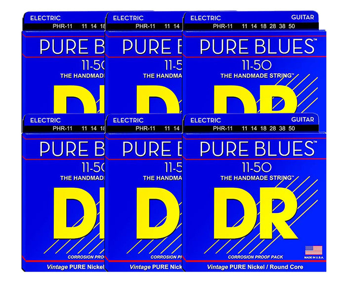 DR Strings Pure Blues PHR-11 Electric Guitar Strings 6-Pack