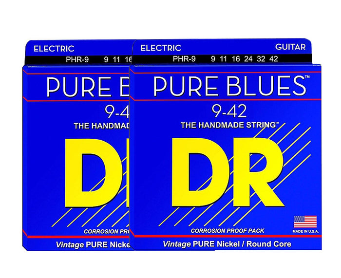 DR Strings Pure Blues PHR-9 Electric Guitar Strings 9-42 Double Pack