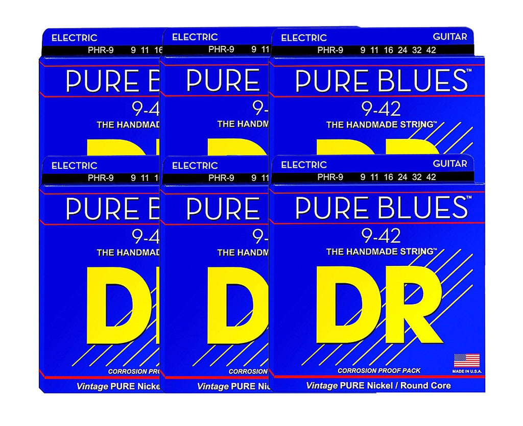 DR Strings Pure Blues PHR-9 Electric Guitar Strings 6 Pack - Megatone Music