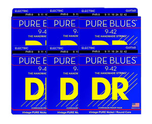 DR Strings Pure Blues PHR-9 Electric Guitar Strings 6 Pack Electric Guitar Strings DR Strings