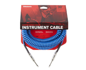 D'Addario Custom Series Coiled Instrument Cable, Blue, 30' - Megatone Music