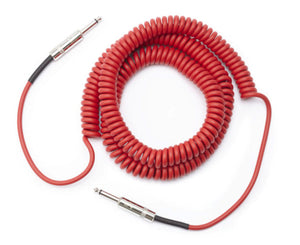 D'Addario Custom Series Coiled Instrument Cable, Red, 30' - Megatone Music