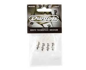 Dunlop 9002P White Plastic Thumbpicks, Medium, 4/Player's Pack