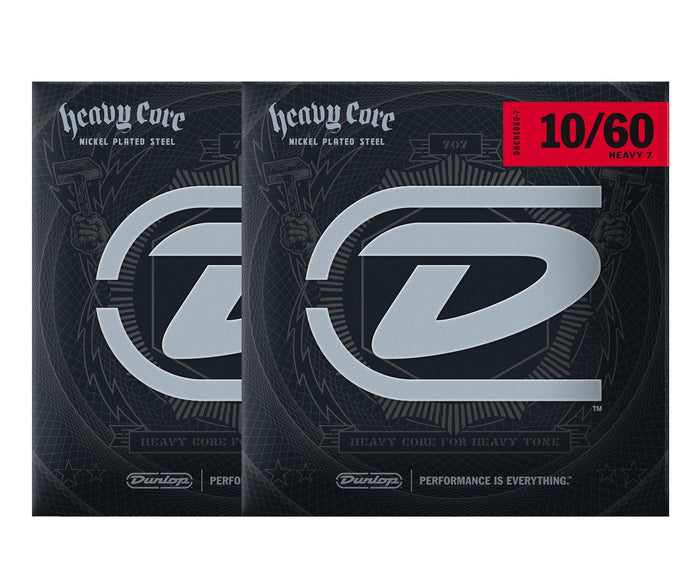 Dunlop Heavy Core 10-60 Heavy 7-String Electric Guitar Strings 2-Pack