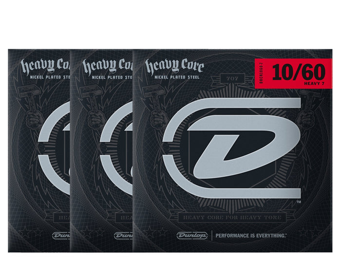 Dunlop Heavy Core 10-60 Heavy 7-String Electric Guitar Strings 3-Pack