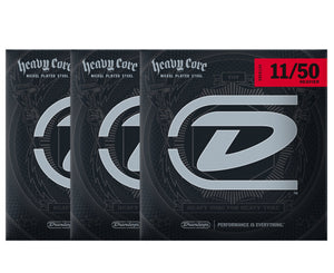 Dunlop Heavy Core 11-50 Heavier Electric Guitar Strings 3-Pack - Megatone Music