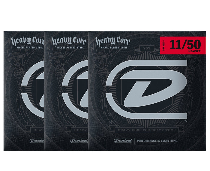 Dunlop Heavy Core 11-50 Heavier Electric Guitar Strings 3-Pack
