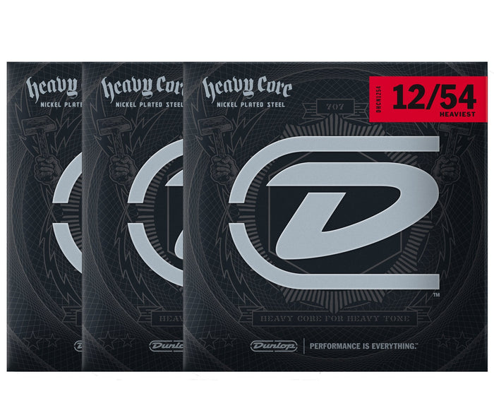 Dunlop Heavy Core 12-54 Heaviest Electric Guitar Strings 3-Pack