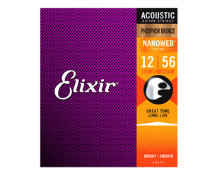 Elixir Nanoweb Phosphor Bronze Acoustic Guitar Strings 12-56 Light-Medium 16077 - Megatone Music