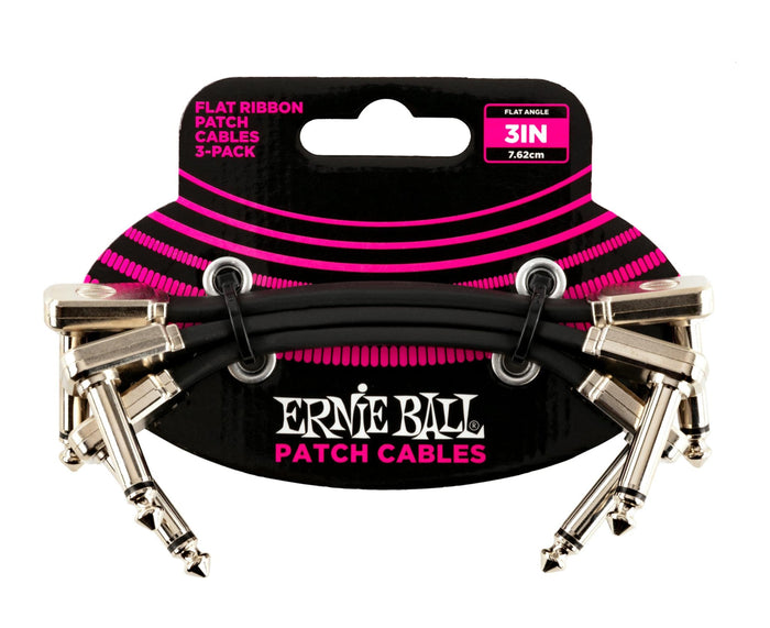 "Ernie Ball 3"" Flat Ribbon Patch Cables 3-Pack"