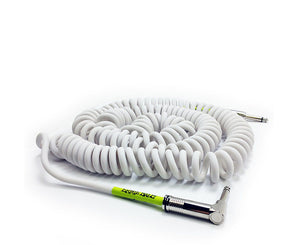 "Ernie Ball 30' Ultraflex Coiled White Guitar Cable Straight to Right Angle 1/4"" Instrument Cables Ernie Ball"