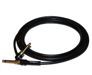 George L's 10 Foot .225 Guitar Cable, RA to STR Brass Plugs, Black - Megatone Music