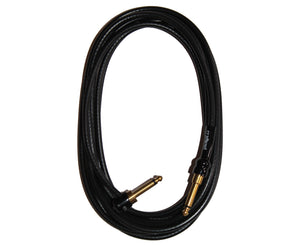 George L's 20 Foot .225 Guitar Cable, RA to STR Brass Plugs, Black - Megatone Music