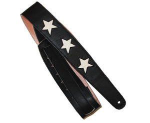 "Henry Heller 2"" Star Series Black Leather Strap w/ Bone White Stars - Megatone Music"