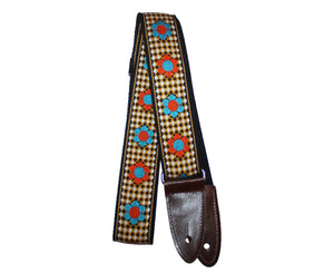 Jodi Head NYC Hootnanny Woven Flowers Golden Brown Custom Guitar Strap