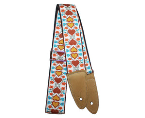 Jodi Head NYC Hootnanny Vintage Woven Hearts Custom Guitar Strap