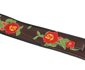 "Jodi Head NYC Stella Rose 3"" Brown  Leather w/ Rose Embroidery Custom Guitar Strap - Megatone Music"