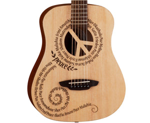 Luna Safari Peace Acoustic Travel 3/4 Guitar w/ Gigbag