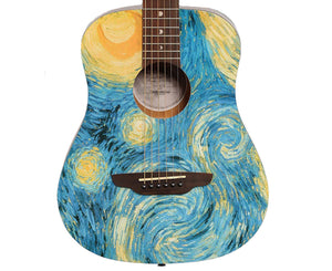 Luna Safari Starry Night Acoustic Travel 3/4 Guitar w/ Gigbag
