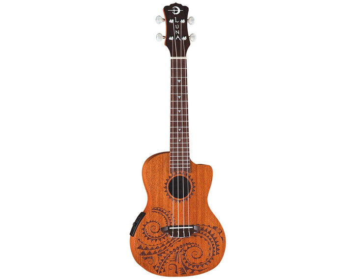 Luna Tattoo Mahogany Concert Ukulele w/ Preamp and Gig Bag