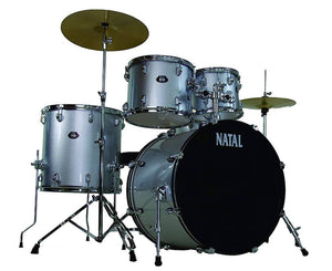 Natal Drums DNA UF22 5-Piece Drum Set, Silver Drum Sets Natal