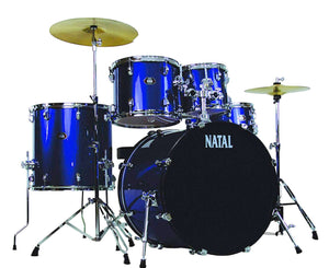 Natal Drums DNA UF22 5-Piece Drum Set, Blue Drum Sets Natal