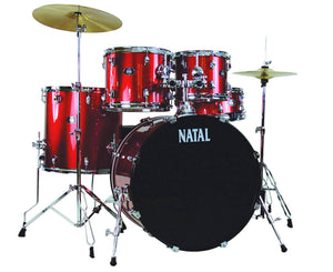 Natal Drums DNA UF22 5-Piece Drum Set, Red Drum Sets Natal