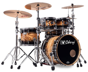 Odery Drum Eyedentity 4-Piece Shell Pack #125 in Tiger Wood Trans Black Burst Drum Sets Odery Drums