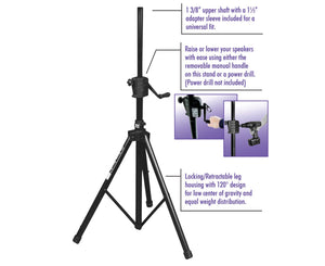 On-Stage Stands SS8800B Power Crank Up Speaker Stand, Black Speaker Stands On-Stage Stands
